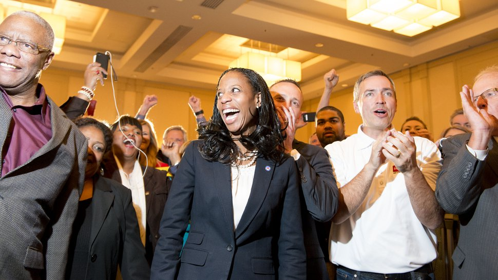 Steve Griffin | The Salt Lake Tribune Mia Love celebrates with supporters after defeating opponent Doug Owens in the race for Utah's 4th Congressional District, Tuesday November 4, 2014.