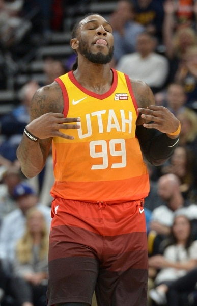(Leah Hogsten | The Salt Lake Tribune) Utah Jazz forward Jae Crowder (99) celebrates his 3-point shot as the Utah Jazz host the Los Angeles Lakers at Vivint Smart Home Arena Tuesday, April 3, 2018