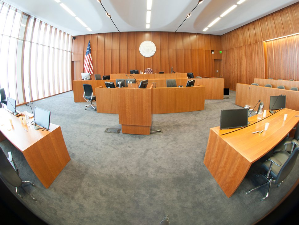 (Photo courtesy of FBI via Freedom of Information Act) This 2014 photo shows the courtroom in the new federal courthouse where a marshal shot Siale Angilau. The photo was taken after the shooting by a device which creates a 360-degree image. The FBI, citing privacy concerns, redacted something in the bottom right corner of the photo.