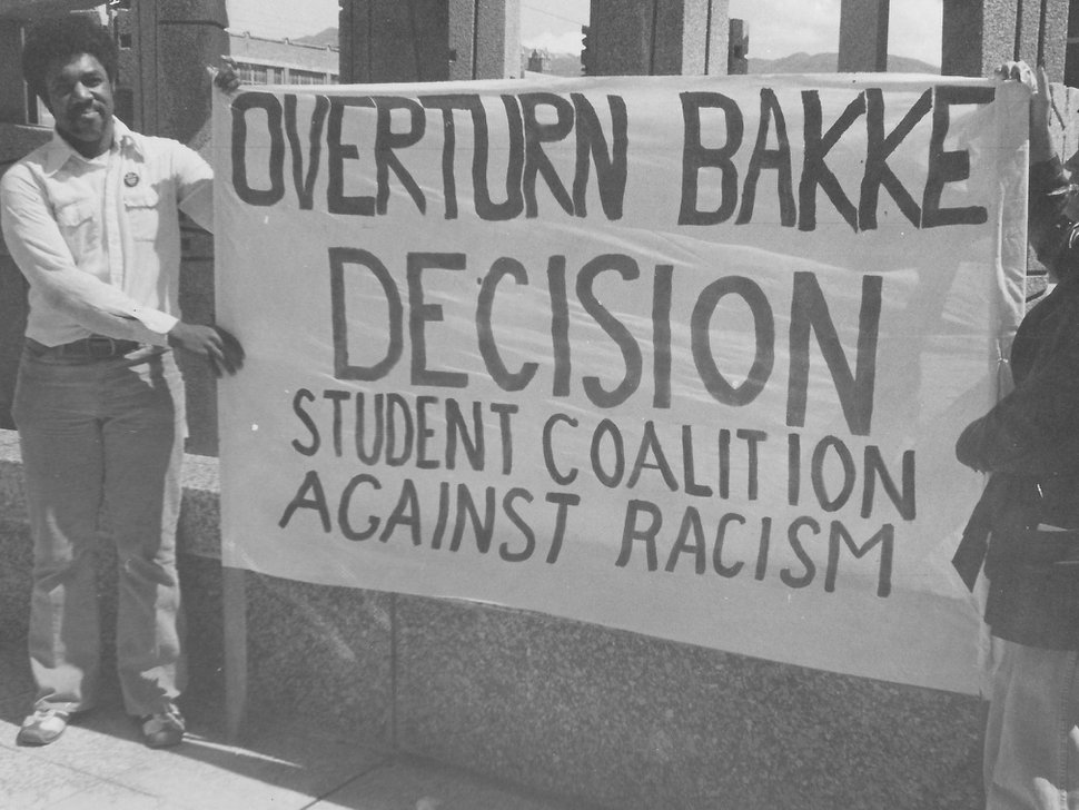 (Courtesy Adams family) Anthony Adams was a social activist involved in any number of civil-rights related protests. Here is shown demonstrating on the University of California v. Bakke, the Supreme Court case that upheld affirmative action.