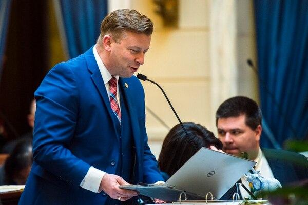 Chris Detrick | The Salt Lake Tribune Senator Todd Weiler speaks about 2HB 141 Unborn Child Protection Amendments during Senate Floor Time at the Utah State Capitol Thursday March 9, 2017.