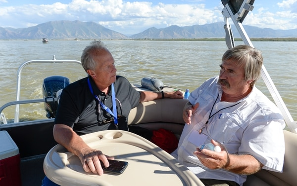 (Francisco Kjolseth | The Salt Lake Tribune) Rep. Mike Noel, R-Kanab, left, speaks with Theron Miller of the Wasatch Front Water Quality Council during a recent tour of Utah Lake. Members of the Legislative Water Development Commission take a tour of Utah Lake on Wednesday, Sept. 13, 2017, for the purpose of learning of wastewater treatment, the importance of protecting our lakes and rivers, how the state is looking to change water quality standards and how regulation is an important local issue.