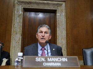 (AP Photo   J. Scott Applewhite) Sen. Joe Manchin, D-W.Va., arrives to chair the Senate Energy and Natural Resources Committee, as congressional Democrats speed ahead this week in pursuit of President Joe Biden's $3.5 trillion plan for social and environmental spending, at the Capitol in Washington, Tuesday, Sept. 21, 2021. Manchin, a Democratic senator vital to the bill's fate, has balked at the price tag.