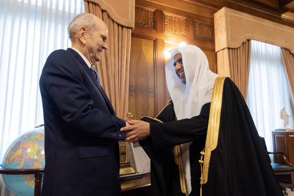 (Courtesy of Muslim World League) LDS Church President Russell M. Nelson greets Mohammad Al-Issa, secretary general of the Muslim World League.