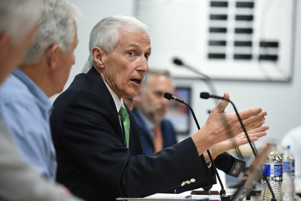 (Francisco Kjolseth | The Salt Lake Tribune) Greg Bell, head of the UTA board, leads a discussion on May 23, 2018, where the panel repeated its previous firing of President and CEO Jerry Benson.