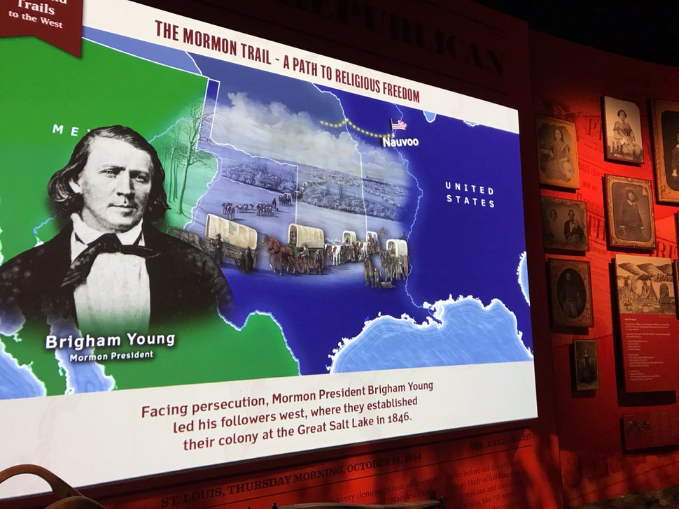 (Nate Carlisle | The Salt Lake Tribune) A photo of Church of Jesus Christ of Latter-day Saints President Brigham Young is displayed on an informational graphic at the Gateway Arch museum on Aug. 22, 2019. The renovated museum focuses on St. Louis' role in westward expansion, including how the city was a way station for pioneers traveling the Mormon Trail.