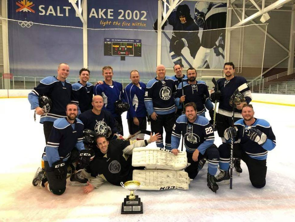 (Courtesy Paul Cutchins) Provo Police Department Master Officer Joseph Shinners' hockey team, Ice Cubes, poses for a photo. Shinners (second row, second from the left) was killed Saturday, Jan. 5, 2019, in a shootout with a fugitive.