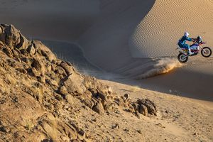 (Photo courtesy of Ishaan Bhataiya/BAS Trucks Dakar Racing Team) Skyler Howes of St. George races through the dunes of Saudi Arabia during an early stage of the Dakar Rally in January 2021. Howes took the overall lead on Stage 3 and is believed to be one of the first privateers to lead the standings in more than 30 years.