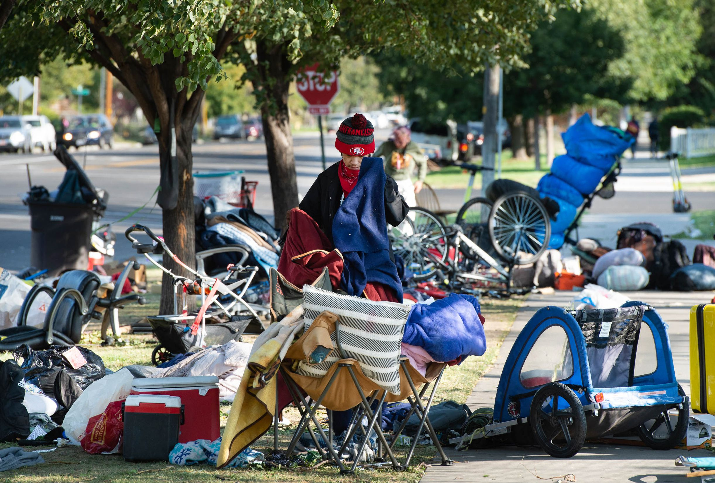 (Francisco Kjolseth  |  The Salt Lake Tribune) People are forced to pack up their camp outside of Liberty-Wells Recreation Center in downtown Salt Lake City on Thursday, Sept. 10, 2020, after being notified by the health department the day before.