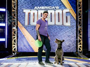 """(Photo courtesy of David Black/A&E 2021) Utahn Dayna Winter-Nolte and her dog, Theo, compete in """"America's Top Dog."""""""