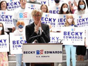 (Rick Egan | The Salt Lake Tribune) Becky Edwards announces her candidacy for the U.S. Senate at the Utah Capitol, Thursday, May 27, 2021.