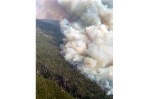 (U.S. Forest Service) The East Fork Fire, which started on August 21, 2020, seen from the air.