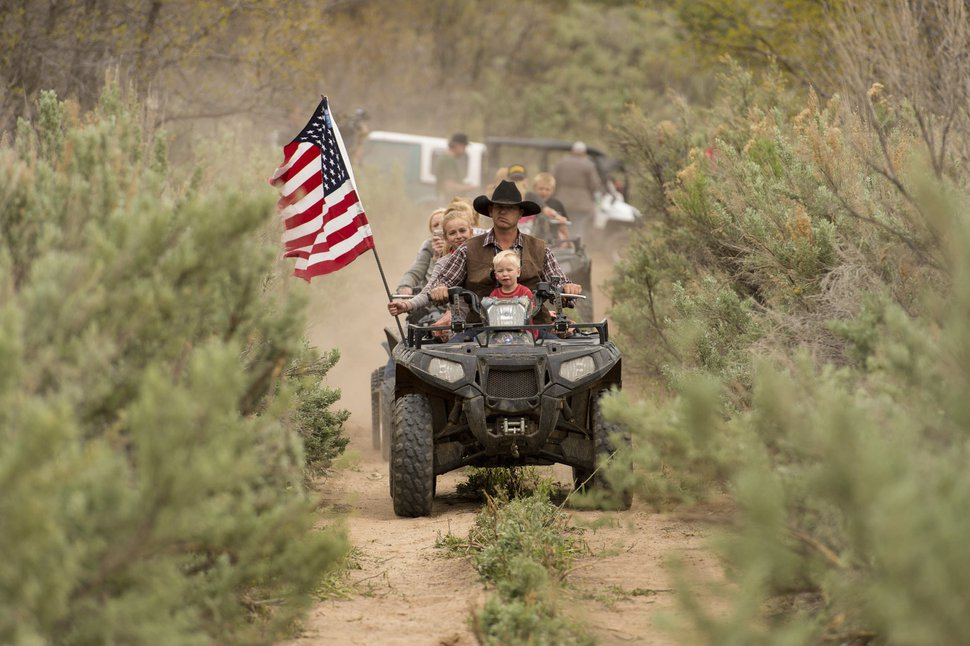 (Trent Nelson | Tribune file photo) Ryan Bundy, son of the Nevada rancher Cliven Bundy, rides an ATV into Recapture Canyon to protest its closure since 2007. The ride was organized by then-San Juan County Commissioner Phil Lyman on Saturday, May 10, 2014. He later spent 10 days in jail and was ordered to pay restitution of $96,000.