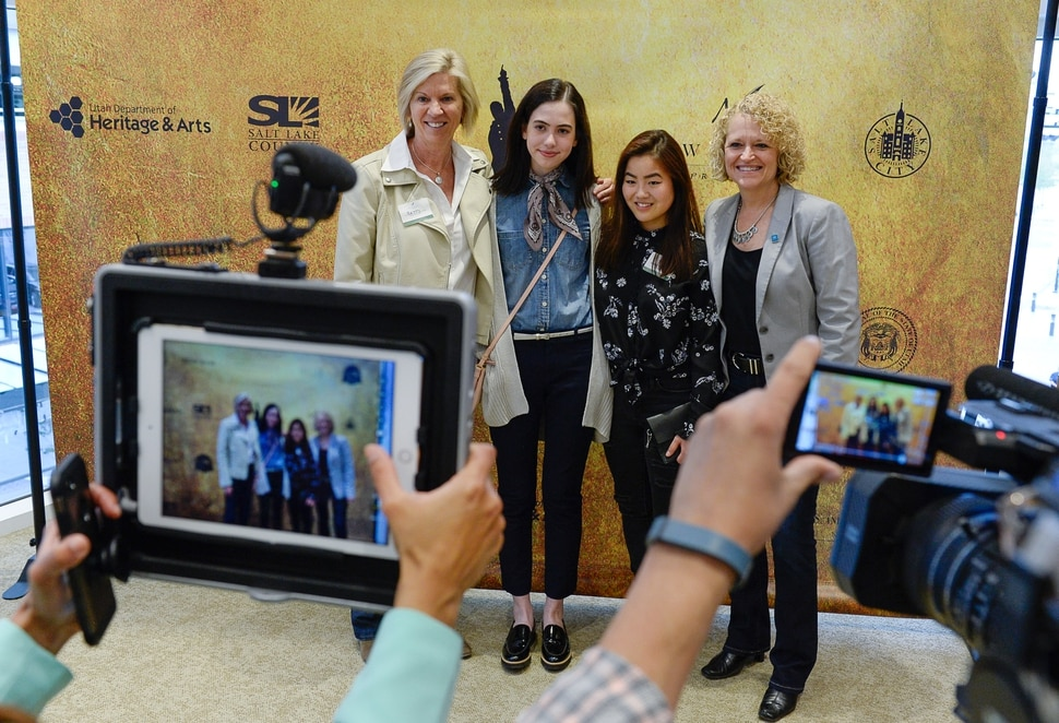 (Francisco Kjolseth | The Salt Lake Tribune) Students Camille Whisenant, 18, center left, and Gracie Kilminster, 17, both seniors at Highland High get a chance to see Hamilton with Mayor Jackie Biskupski, at right, who was joined by her wife Betty on Thursday, April 19, 2018, at the Eccles Theater. As part of the New Nation Project, kids were challenged to write to politicians for the chance to win tickets and attend with a legislator or political leader of their choice as a way to educate them on a topics the teens care about and offer solutions.