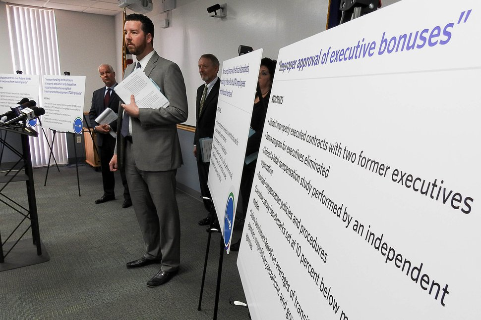 (Trent Nelson | Tribune file photo) Utah Transit Authority officials hold a news conference to discuss an ongoing federal investigation and reforms they have enacted, at UTA headquarters in Salt Lake City, April 4, 2017.