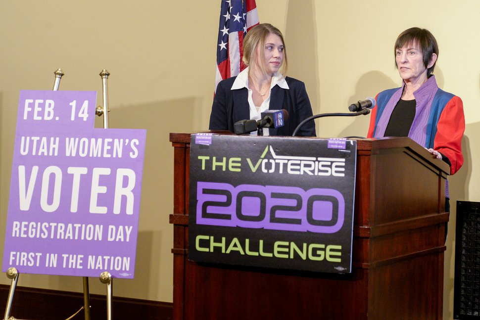 (Leah Hogsten | The Salt Lake Tribune) Hope Zitting-Goeckeritz, Voterise's director of operations, left, and Elsa Gary, co-founder of Voterise, speak during a press conference at the Capitol Feb. 7. Voterise announced an initiative to increase voter participation among Utah women on Friday, in advance of first Women's Voter Registration Day Feb. 14 in Utah.