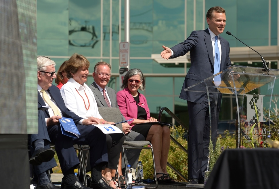 (Leah Hogsten   The Salt Lake Tribune) Peter R. Huntsman, Chairman and CEO of the Huntsman Cancer Foundation, gestures to his mother Karen Huntsman while sharing a story about her good humor and his father, the late Jon M. Huntsman, during the groundbreaking ceremony for the Kathryn F. Kirk Center for Comprehensive Cancer Care and Women's Cancers at Huntsman Cancer Institute, September 5, 2019.