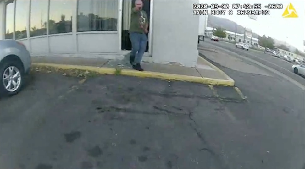"""(Photo courtesy the Weber County Attorney's Office) Authorities released the video of the police shooting of Aaron Baugh on Sept. 30, 2020. Baugh was suspected of breaking into the the AAMCO Transmission shop, at 3076 Wall Ave., and brandished a stapler as he approached the investigating Ogden police officer, """"presenting it as a weapon."""" He survived and was later charged in the burglary."""