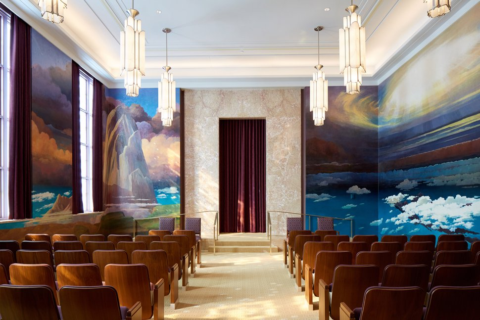 (Photo courtesy of The Church of Jesus Christ of Latter-day Saints) The creation room in the Idaho Falls Temple. Latter-day Saints are taught about the creation of the world in this room.