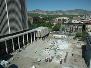 (The Church of Jesus Christ of Latter-day Saints) A view of the Church Office Building's plaza after the removal of a large fountain, Salt Lake City, June 2021. The Utah-based faith is reducing its water use to comply with state recommendations.