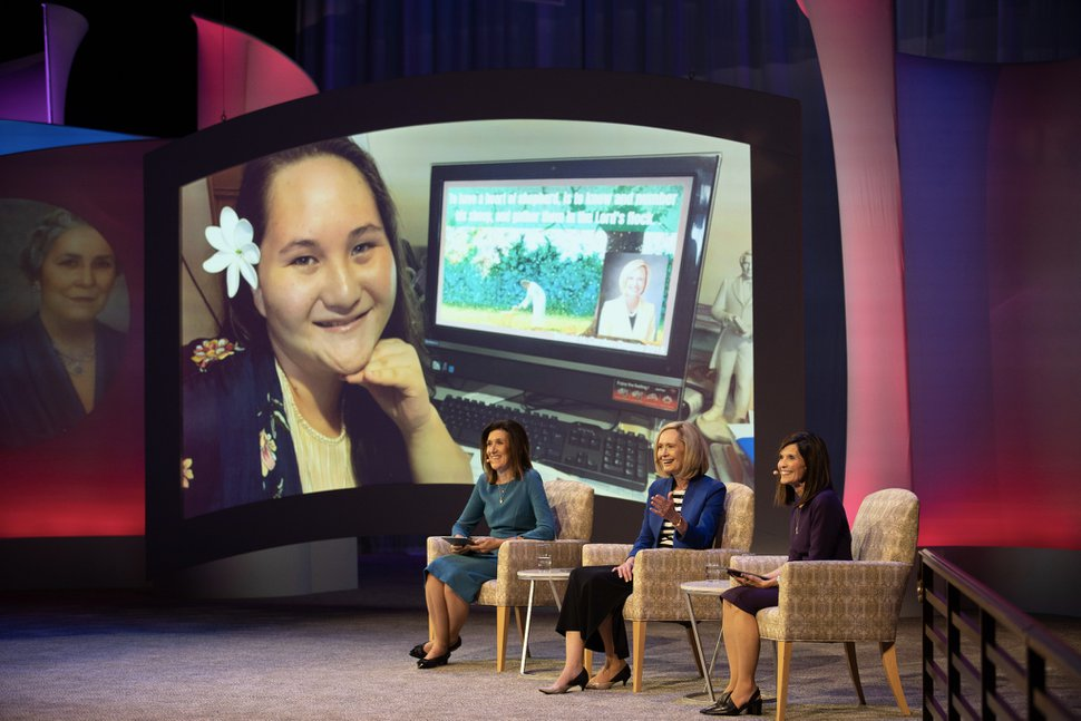 (Photo courtesy of The Church of Jesus Christ of Latter-day Saints) Michelle Craig, Young Women first counselor, left; Bonnie Cordon, Young Women general president; and Becky Craven, second counselor, answer questions during a Face to Face broadcast on Sunday, Nov. 15, 2020, in Salt Lake City.