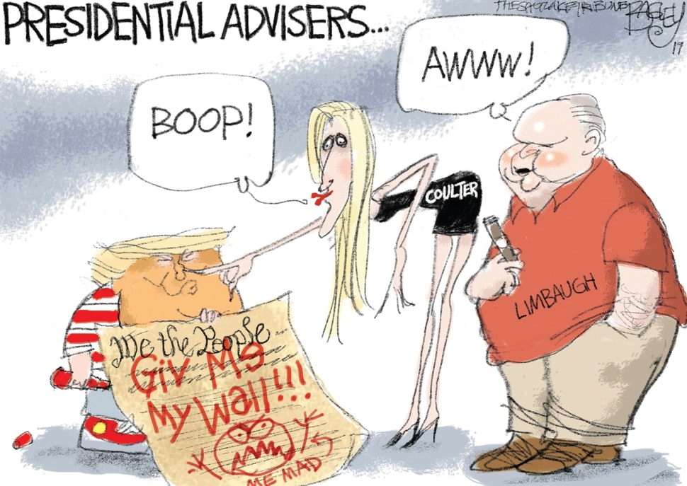 (Pat Bagley | The Salt Lake Tribune) This cartoon by Pat Bagley titled Proud Shutdown Parents appears in The Salt Lake Tribune on Friday, Jan. 18, 2019.