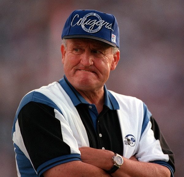 (Steve Griffin | Tribune file photo) BYU head coach LaVell Edwards during the Utah-BYU game in 1995.