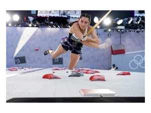 (Tsuyoshi Ueda | Pool photo) Kyra Condie, of the United States, during the speed qualification portion of the women's sport climbing competition at the 2020 Summer Olympics, Wednesday, Aug. 4, 2021, in Tokyo.