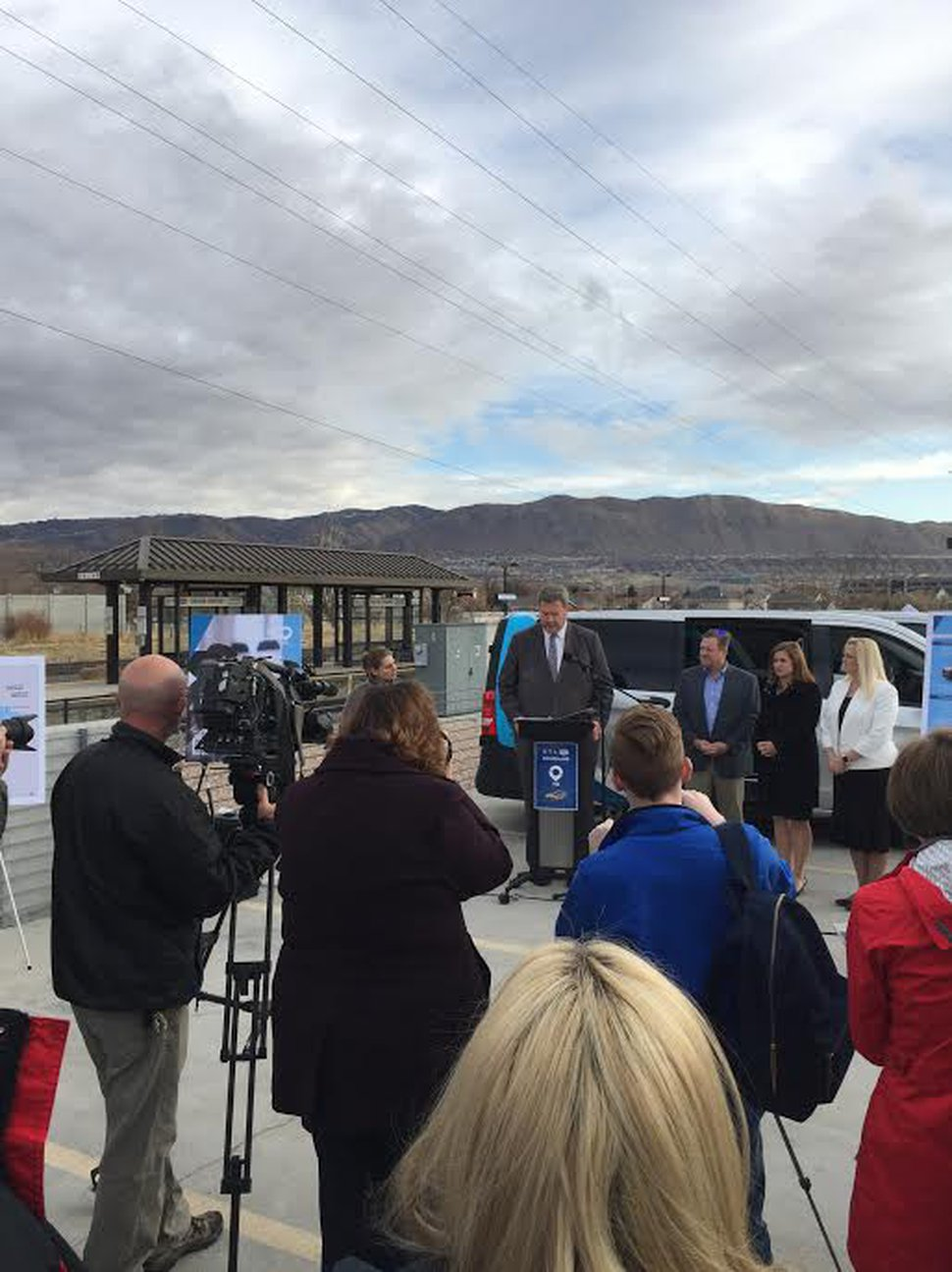 (Photo courtesy of Utah Transit Authority) Officials speak at the grand opening of UTA's new microtransit pilot project on Nov. 21, 2019.