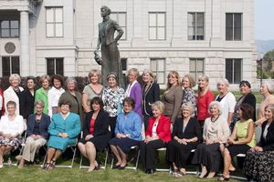 (Steve Griffin | Tribune file photo) Current and former women Utah legislators pose for a photograph with the Martha Hughes Cannon statue outside the state capitol in Salt Lake City, Utah Wednesday, Aug. 15, 2012. The women gathered at the capitol for a screening of the KUED documentary on Martha Hughes Cannon who was the first women state senator in the United States. Front row, from left: Peggy Wallace, Beverly White, Karen Shepherd, Olene Walker, Becky Lockhart, Margaret Dayton, Chris Fox Finlinson, Carol Spackman Moss, Paula Julander, Alicia Suazo and Karen Morgan. Back row, from left: Nancy Lyon, Carlene Walker, Patrice Arent, Lou Shurtliff, Trisha Beck, Rhonda Menlove, Sheryl Allen, Merlynn Newbold, Becky Edwards, Marie Poulson, Jennifer Seelig, Jackie Biskupski, Christine Watkins, Karen Mayne, Rebecca Chavez Houck, Darlene Gubler and Pat Jones.