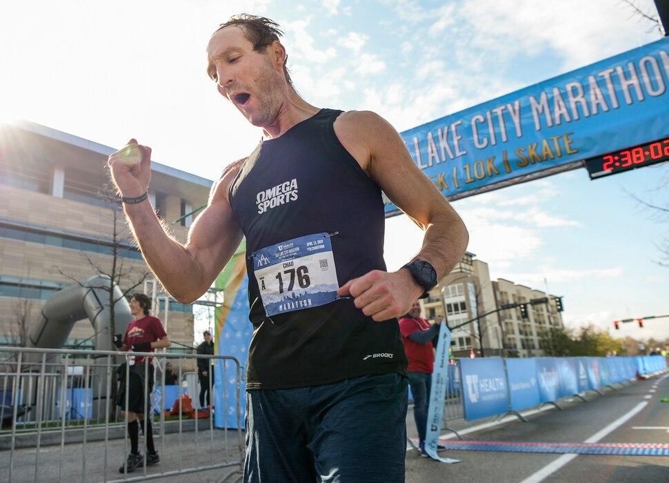 Leah Hogsten | The Salt Lake Tribune Ryan Crockford of Charlotte, NC wins the Salt Lake City Marathon, Saturday April 13, 2019.