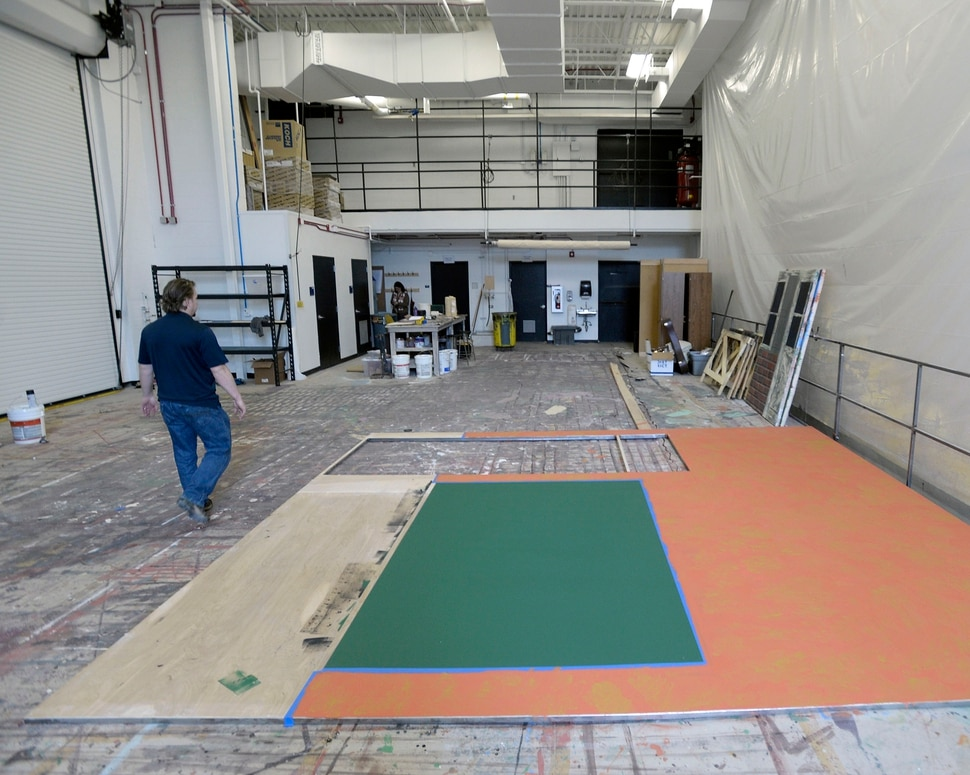 (Al Hartmann | The Salt Lake Tribune) Utah State University is getting ready to reopen the renovated Chase Fine Arts Center, an arts complex that includes the totally remodeled Daines Concert Hall. The Art and Mary Heers Scene Shop is spacious.