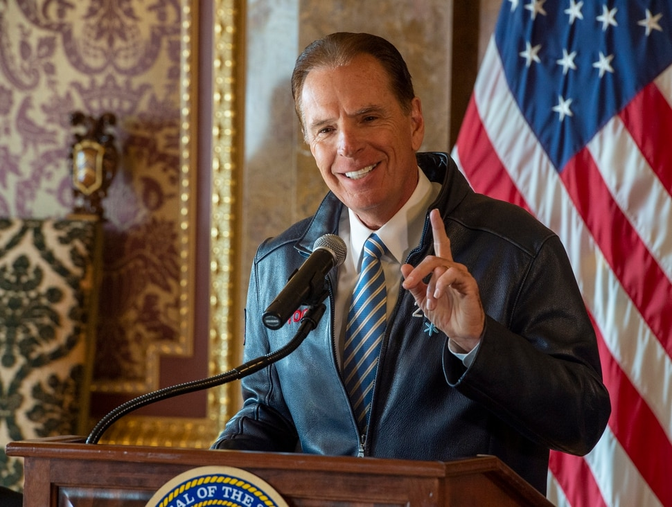 (Rick Egan | The Salt Lake Tribune) Fraser Bullock, president and CEO of Salt Lake City-Utah Committee for the Games, makes a few comments about Utah's next steps towards an Olympic and Paralympic Winter Games during a news conference at the Utah State Capitol, Wednesday, Feb. 12, 2020.