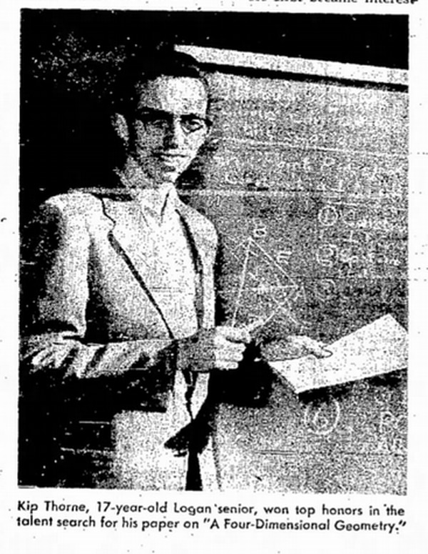 (Tribune file photo) Kip Thorne makes his first appearance in The Salt Lake Tribune as the winner of a science competition in March 1958.